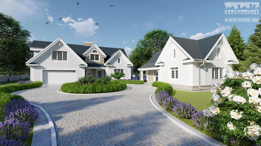 Budynek gospodarczy nie odbiega stylem od samego domu, przez co tworzy spójne i wysmakowane założenie. Projekt stylowego domu z budynkiem gospodarczym - Dom Marzeń A0216