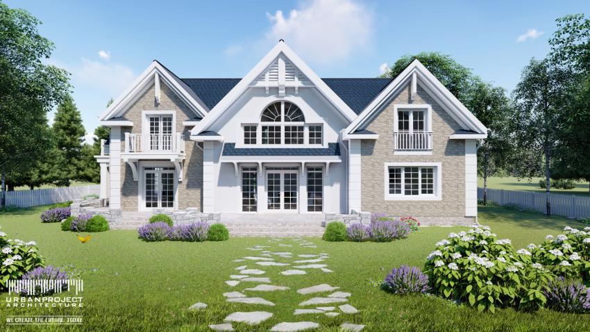 Każdy z segmentów domu jest symetryczny względem własnej osi, co zostało dodatkowo podkreślone białymi detalami. Delikatne podziały dużych okien w rezultacie dodają obiektowi niezwykłej lekkości. Projekt stylowego domu z budynkiem gospodarczym - Dom Marzeń A0216