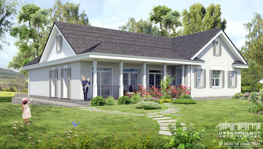 Projekt małego parterowego domu. A może wolicie bardziej stonowaną kolorystkę? Doskonałą przeciwwagą dla jasnego tynku na elewacjach jest ciemne wykończenie dachu. Ponadto duże okna wychodzące na werandę z subtelnymi szprosami dodają całości niezwykłej elegancji.