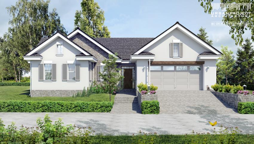 Projekt małego parterowego domu. W drugiej wersji króluje biały tynk i kamienna okładzina elewacyjna. Mimo tej samej kubatury budynek wydaje się być dużo lżejszy oraz wyższy, głównie za sprawą podkreślonych cokołów.