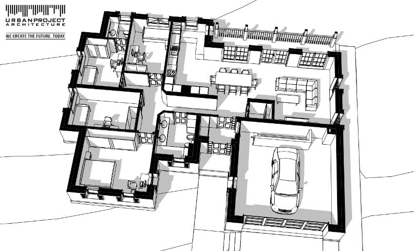 Na niewielkiej powierzchni zgromadzono wszystkie potrzebne funkcje. Cały budynek możemy w zasadzie podzielić na cztery strefy: garaż, komunikację z pomieszczeniami pomocniczymi, strefę dzienną oraz strefę sypialnianą.
