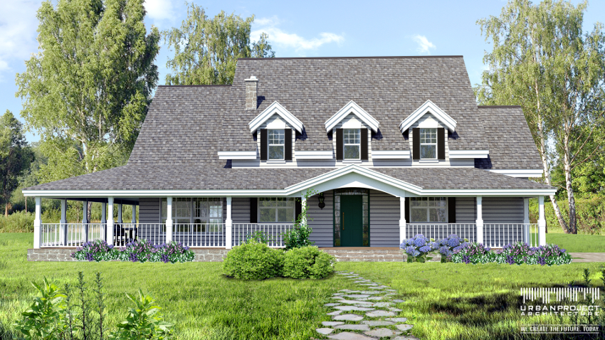 Dom z dużą werandą w stylu amerykańskim. Świetny układ wnętrz i rozmieszczenie pomieszczeń. Niezwykły projekt indywidualny - zobacz wizualizacje i rzuty.