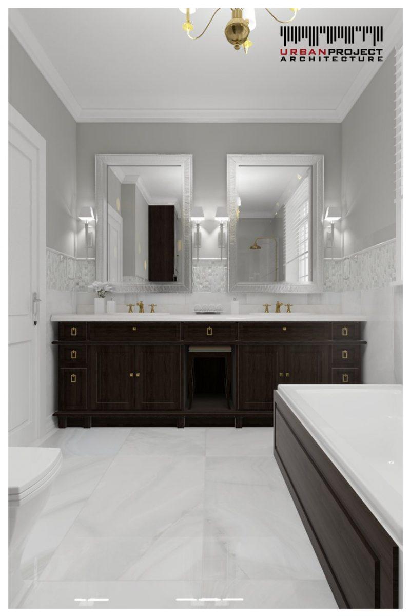 Przechodzimy teraz do łazienki. Jak sami widzicie, nawet tutaj udało się zachować elegancki wystrój. Ciemne wyposażenie kontrastuje z białą armaturą i jasnymi płytkami. Każdy szczegół został dokładnie przemyślany, aby uczynić to wnętrze jak najbardziej funkcjonalnym i wygodnym. projekt aranżacji wnętrz