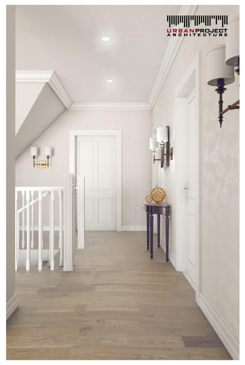 Stylowe kinkiety rozświetlają wnętrze, a tapeta z delikatnym wzorem stanowi ciekawą ozdobę korytarza. A co jeszcze możemy znaleźć w tym pomieszczeniu?