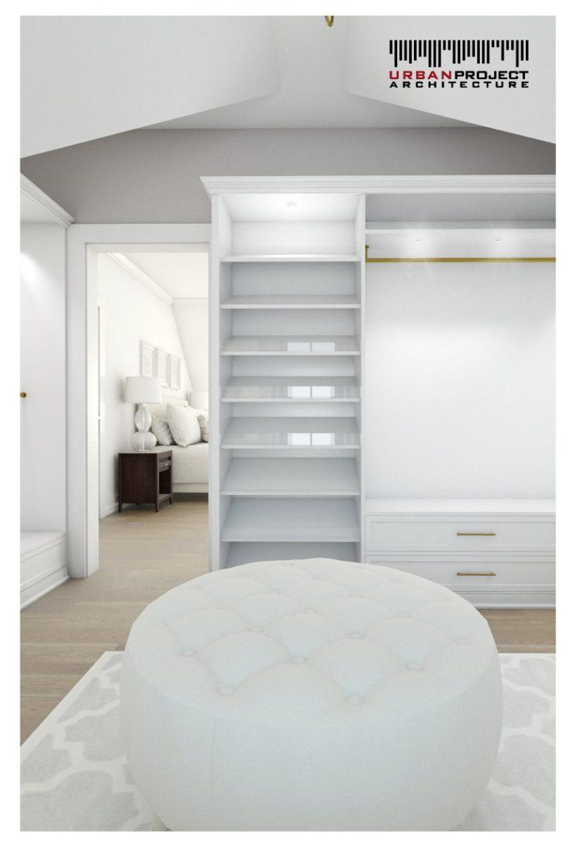 Garderoba jest bezpośrednio połączona z sypialnią i poza jej standardową funkcją magazynową może być pomieszczeniem do wszelakich kosmetycznych i pielęgnacyjnych rytuałów. projekt aranżacji wnętrz