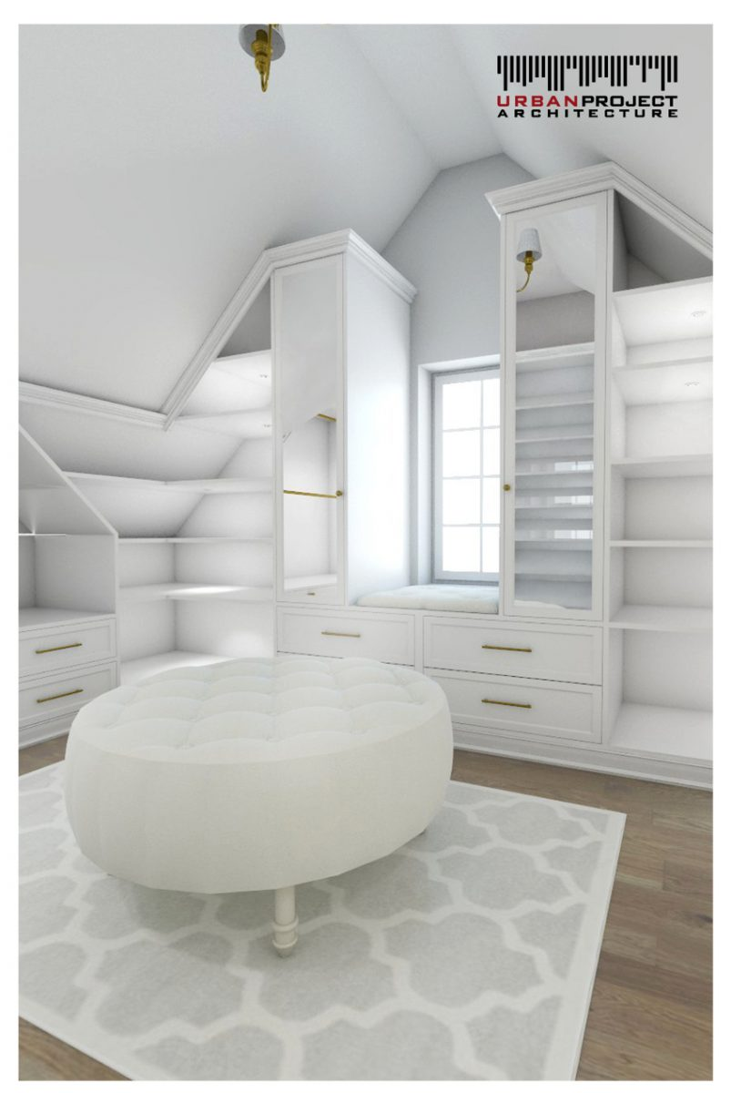 Na widok tego pomieszczenia niejednej osobie z pewnością serce zabije mocniej. ;D Oto główna garderoba, czyli master closet! projekt aranżacji wnętrz