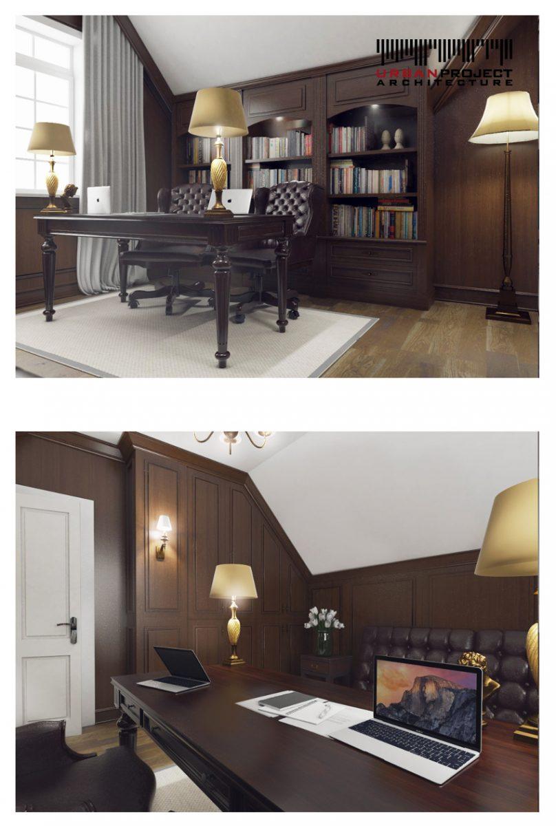 Kolejnym pomieszczeniem w naszym zestawieniu jest gabinet. Eleganckie panele ścienne z ciemnego drewna definiują wnętrze i nadają mu dystyngowanego charakteru.