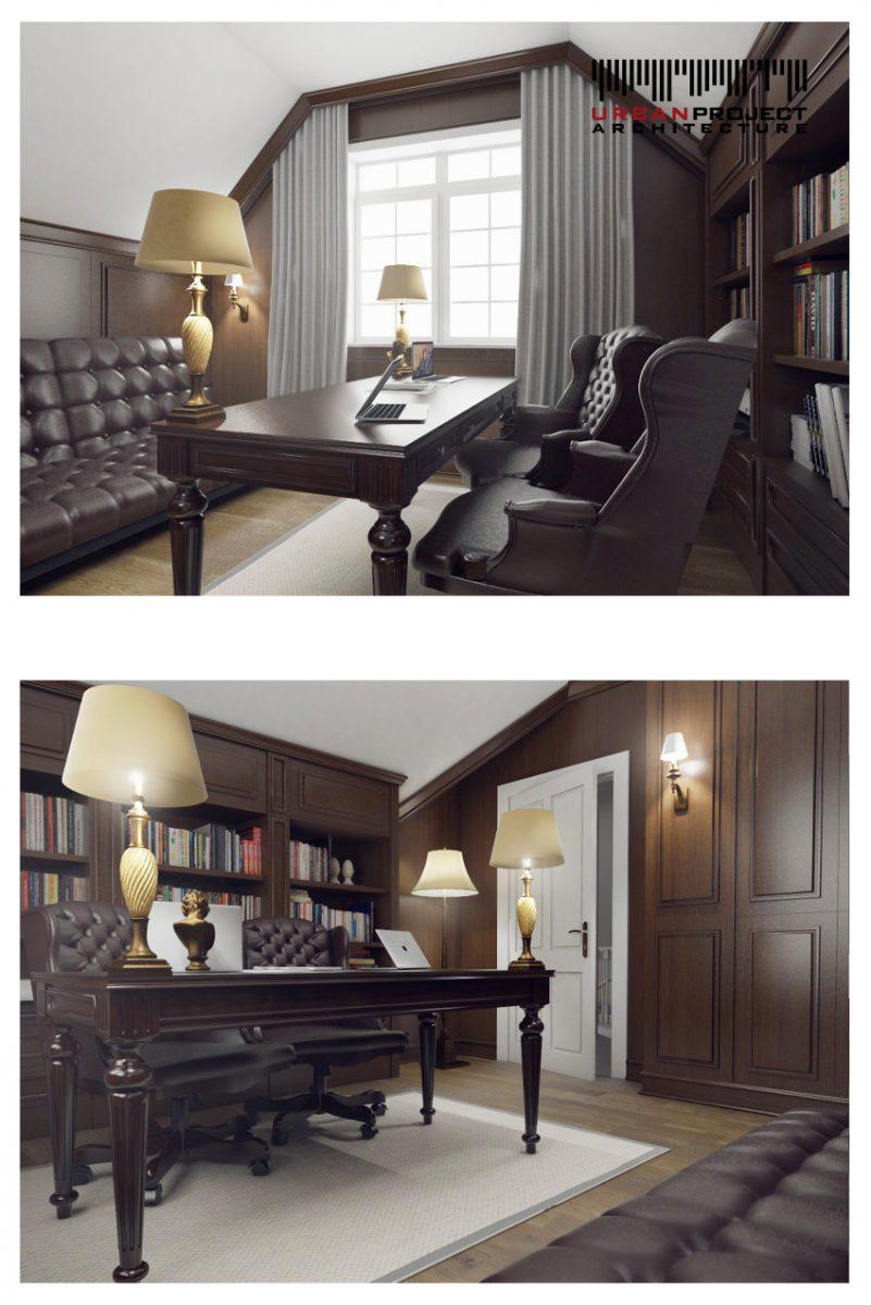 Pomimo skosów w każdym calu wykorzystano dostępną przestrzeń. Dodatkowo kontrast białego sufitu i ciemnych ścian optycznie powiększa wnętrze.