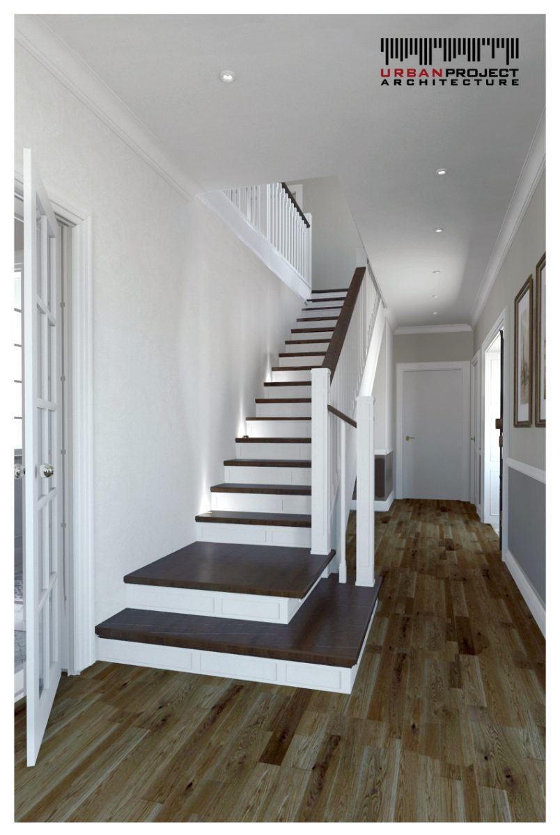 Parter za nami, dlatego teraz idziemy oglądać poddasze! Po drodze możemy przyjrzeć się niezwykłemu designowi schodów w iście amerykańskim stylu!