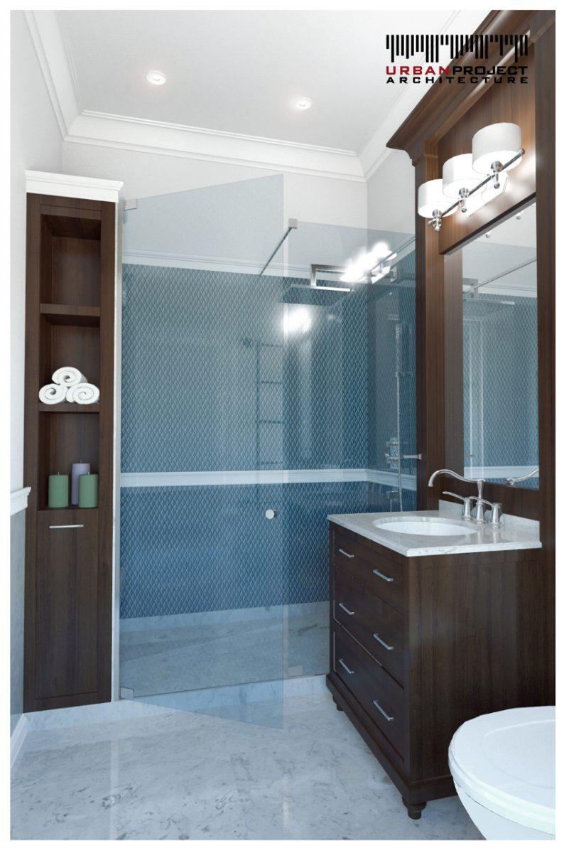 """Toaleta na parterze nie ma dużej powierzchni, ale z pewnością nie została potraktowana """"po macoszemu"""". ;] Duża kabina prysznicowa bez brodzika zwraca na siebie uwagę, głównie za sprawą barwionego na niebiesko szkła. Jak widzicie efektywnie wykorzystano każdy centymetr powierzchni. projekt aranżacji wnętrz"""