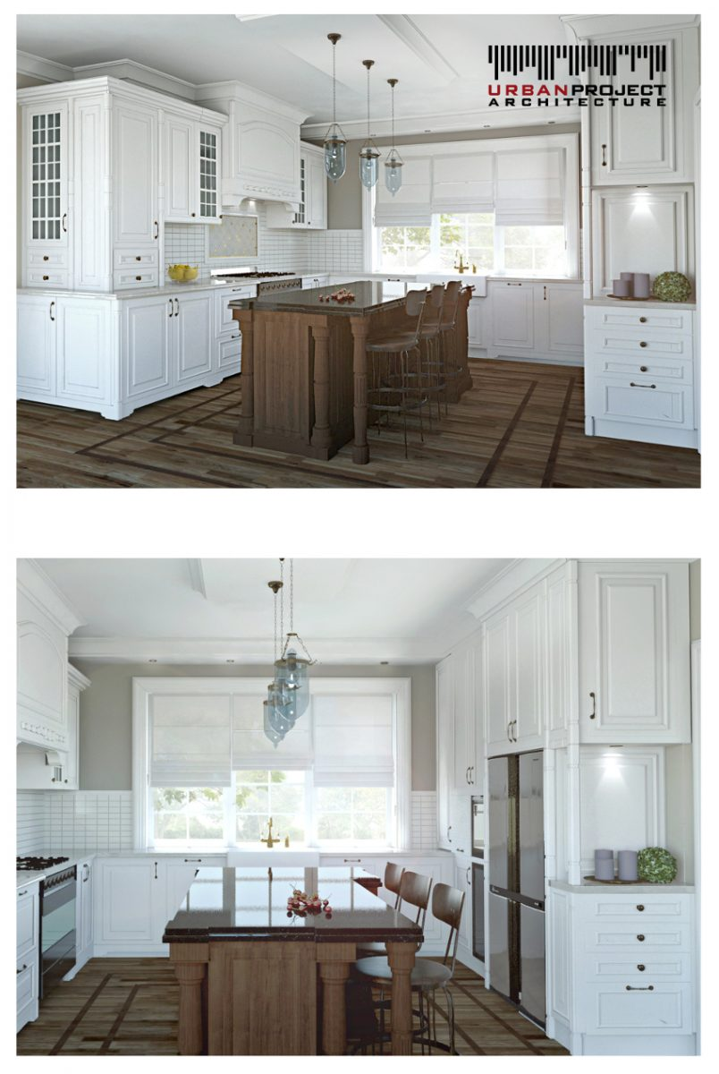 Biała zabudowa kuchenna tworzy interesujący kontrast z ciemnym blatem i stołem oraz ciemną posadzką.  Przemyślane dodatki uzupełniają wnętrze i tworzą niezwykłą przestrzeń, która wprost zachęca do przygotowywania posiłków. ;]