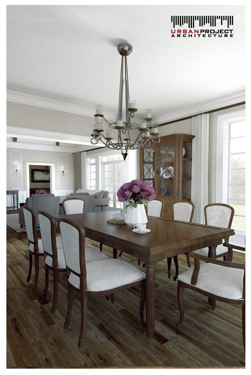 Jadalnia połączona jest bezpośrednio z salonem oraz kuchnią tworząc przestronną strefę dzienną. W tym miejscu sufit ma już standardową wysokość, jednak nie odbiera to pomieszczeniu stosownej elegancji i wytworności. projekt aranżacji wnętrz