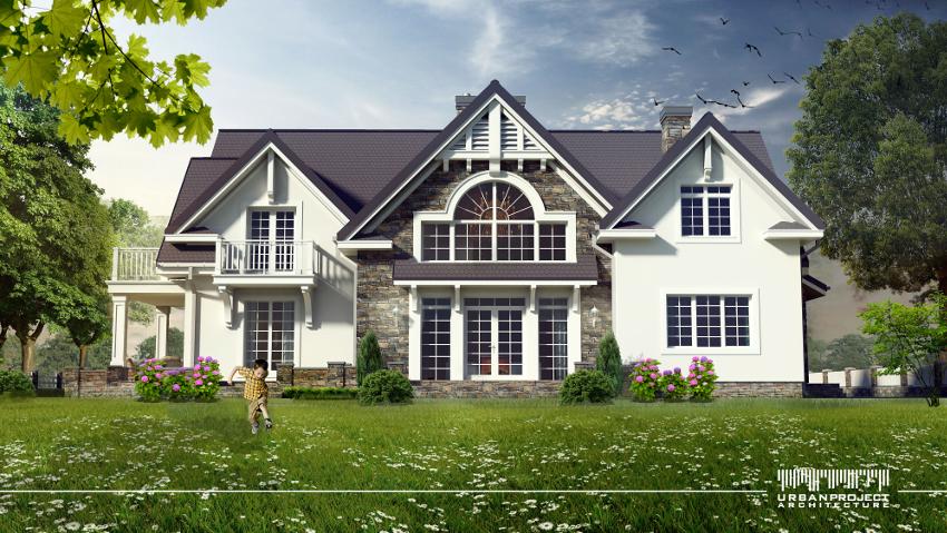 Tak prezentuje się elewacja domu amerykańskiego, którego wnętrze będziemy dziś omawiać. Zwróćcie uwagę na środkowy segment. Jego duże okna pięknie rozświetlają salon - co również zobaczycie na późniejszych wizualizacjach. ;]