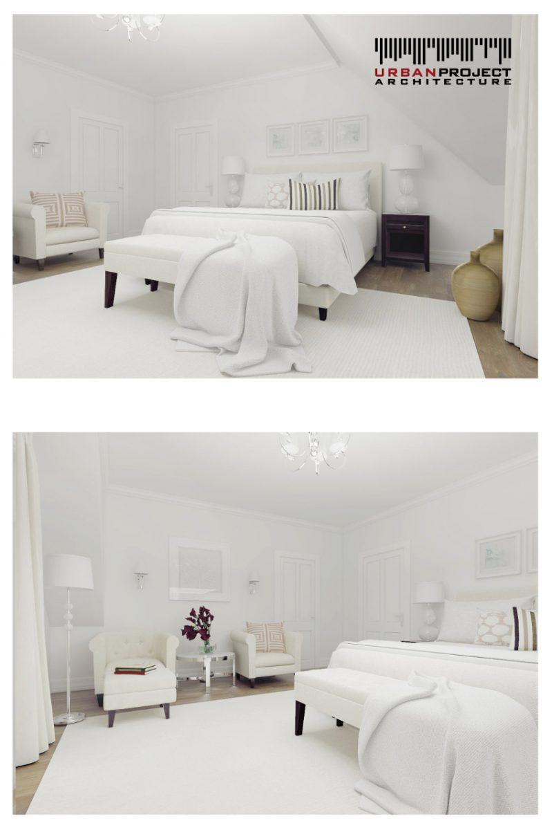 Przechodzimy teraz do master bedroom, czyli inaczej mówiąc do sypialni rodziców. To piękne jasne wnętrza, których kolorystyka oraz subtelne dodatki pozwalają się wyciszyć i naprawdę odpocząć.