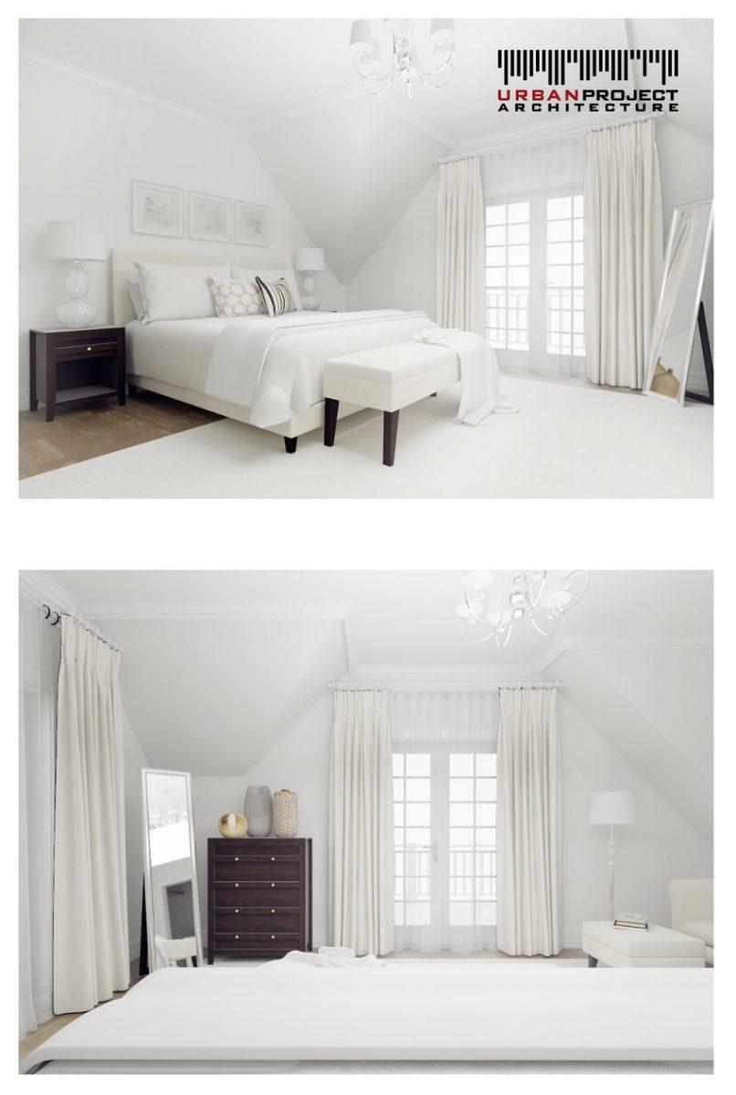 Kilka ciemnych elementów wyposażenia stanowi wyrafinowany kontrast z wszechobecną bielą. Bezpośrednio z sypialni wyjść możemy na balkon, do czego zapraszają nas duże drzwi z delikatnymi podziałami. Całość tworzy wysublimowane i eleganckie wnętrze. projekt aranżacji wnętrz