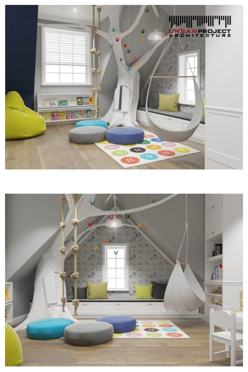 Na koniec przedstawię Wam najbardziej magiczne pomieszczenie w całym amerykańskim domu! :D Sypialnia dla dziecka nie musi być sztampowa i dobrze jest, jeżeli pobudza kreatywność młodych umysłów. projekt aranżacji wnętrz