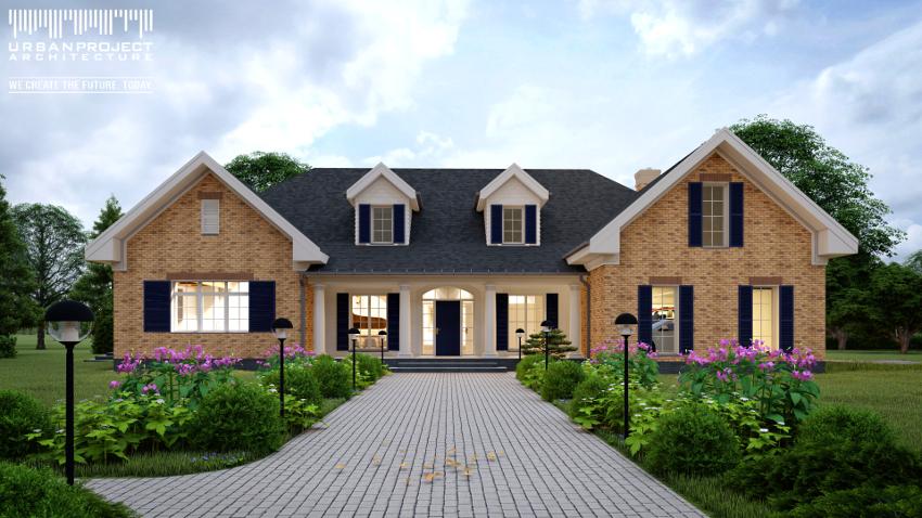 wyjątkowy dom wnętrze architektura projekt indywidualny dom jednorodzinny w świątecznej zimowej scenerii wizualizacje cegła na elewacji wysoki sufit duże okna dom marzeń