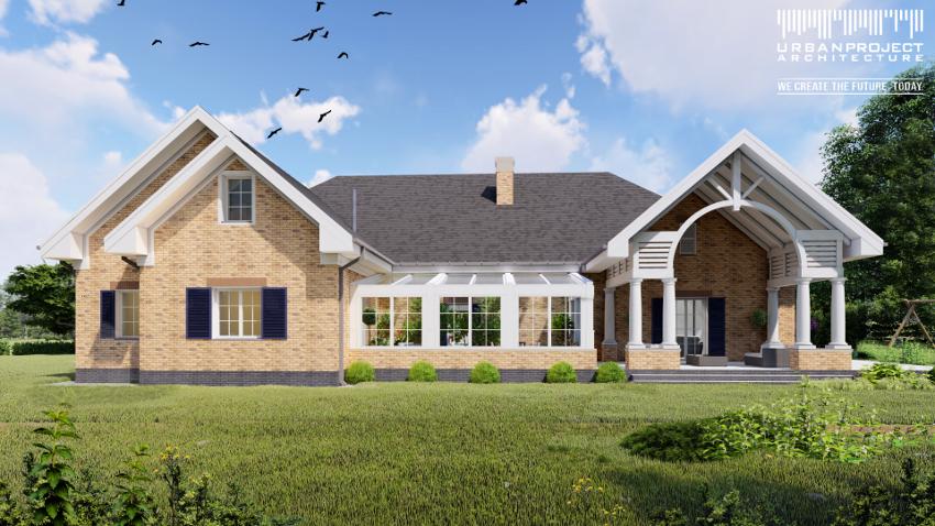 wyjątkowy dom wnętrze architektura projekt indywidualny dom jednorodzinny w świątecznej zimowej scenerii wizualizacje cegła na elewacji wysoki sufit duże okna dom marzeń projekt domu z ogrodem zimowym
