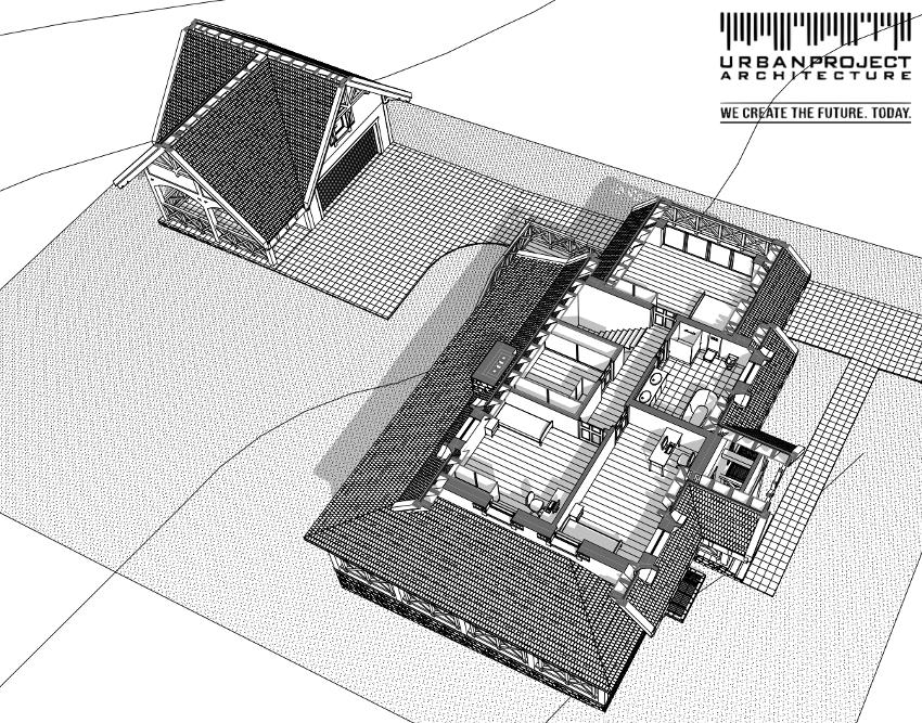 Budynek gospodarczy usytuowany jest niżej, jednak proporcje, materiały i rozwiązania nawiązują do architektury domu. Dzięki temu jest on przyjemnym elementem ogrodu, a być może nawet może być uznany za jego ozdobę. ;]