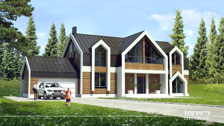 Białe detale lukarn i dachów przedłużone niemal do poziomu gruntu optycznie zwiększają wysokość budynku, dodatkowo go wysmuklając. Natomiast poprzez kontrast z ciemniejszymi materiałami jak blacha i drewno, powstaje wyrazista architektura, wobec której nie można przejść obojętnie.  Oryginalny projekt domu