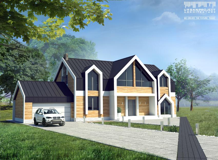 W pierwotnej wersji projektu okładzina elewacyjna była znacznie jaśniejsza, zaproponowano też nietypowe zagospodarowanie terenu w postaci dynamicznej czarnej ścieżki. Oryginalny projekt domu