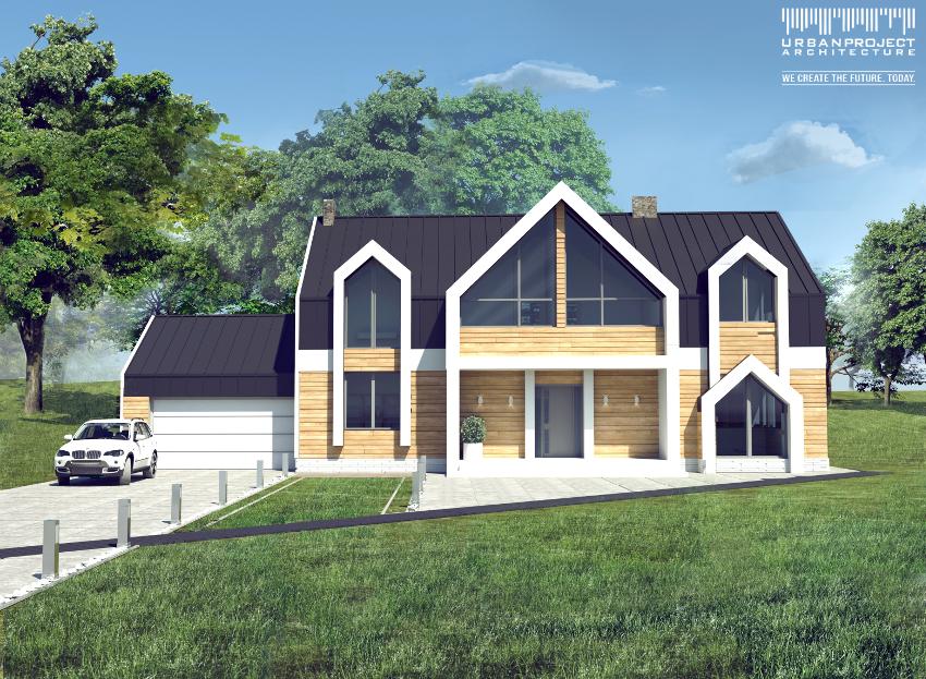 Pomimo, że garaż dokomponowany jest do budynku jako oddzielna bryła, stanowi z nią spójną i estetyczną kompozycję. Dodatkowo ciemne wykończenie dachu bez okapów w kontraście z białymi detalami uzupełniają nowoczesny wydźwięk budynku.  Oryginalny projekt domu