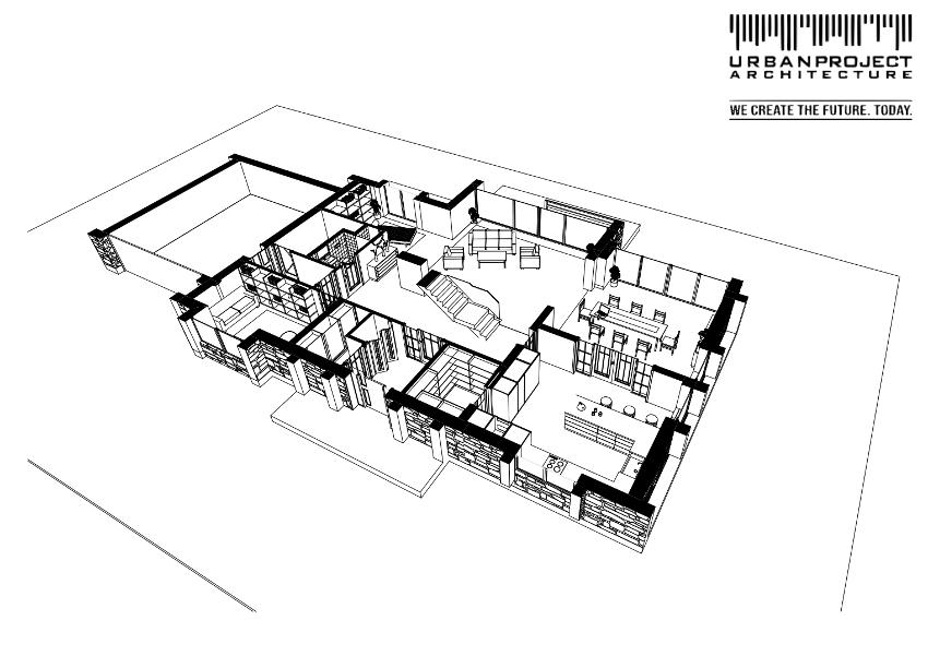 Głównym trzonem budynku jest strefa dzienna połączona z komunikacją, wokół której rozlokowane są pozostałe pomieszczenia.