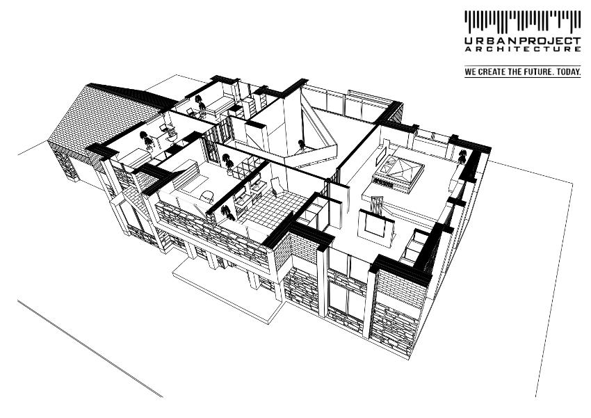 Ten nietypowy kształt nad salonem to nic innego jak nowoczesna forma antresoli. Natomiast segment budynku po prawej to master bedroom z przestronną garderobą.
