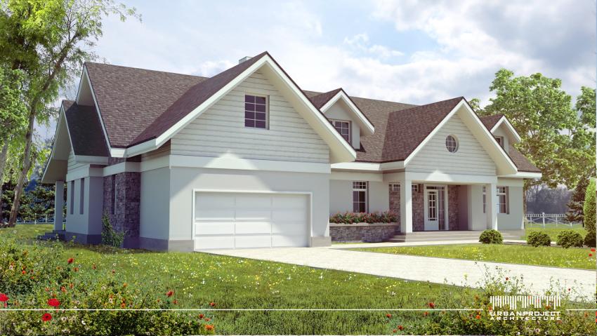 Na koniec pokażę Wam jedną z najwcześniejszych koncepcji projektowych tego domu. W skrócie różni się ona przede wszystkim geometrią dachów oraz stolarką okienną. Jednak wciąż pozostaje wyjątkowo elegancka i wyważona jak na dom z amerykańskim wnętrzem przystało! ;]