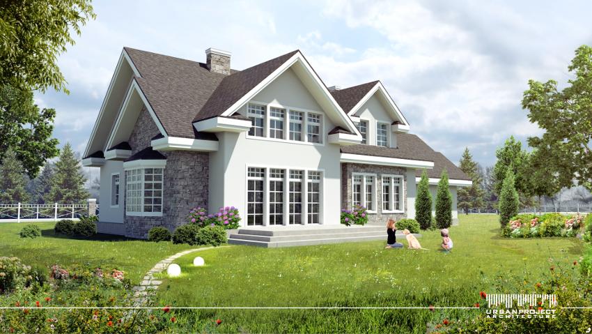 Widok z drugiej strony domu - od ogrodu. Zwróćcie uwagę na wyjątkowy układ okien, ponieważ będzie on odgrywać kluczową rolę we wnętrzu. :]