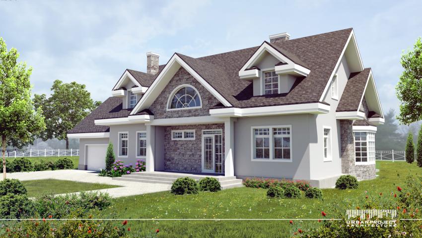 Podkreślona w bryle strefa wejściowa z pewnością zaprasza ku wnętrzom domostwa. Całość utrzymana została w stonowanej szarej kolorystyce, natomiast białe detale stolarki i dachu stanowią doskonałą przeciwwagę.