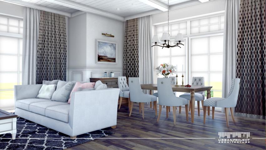 Wyeksponowanie konstrukcji sufitu oraz naścienna sztukateria to typowe elementy amerykańskiego wnętrza. Jednak w przypadku wielu elementów dekoracyjnych, łatwo o przesadę. Dlatego warto wcześniej przemyśleć układ konkretnych detali i dobrać stonowaną kolorystkę. Dom z amerykańskim wnętrzem