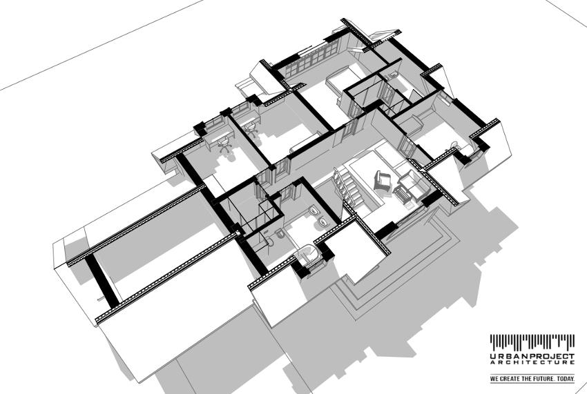 Pomieszczenia na poddaszu zostały wkomponowane w geometrię dachów uzyskując przez to wygodne i dobrze doświetlone przestrzenie o niebanalnym charakterze.