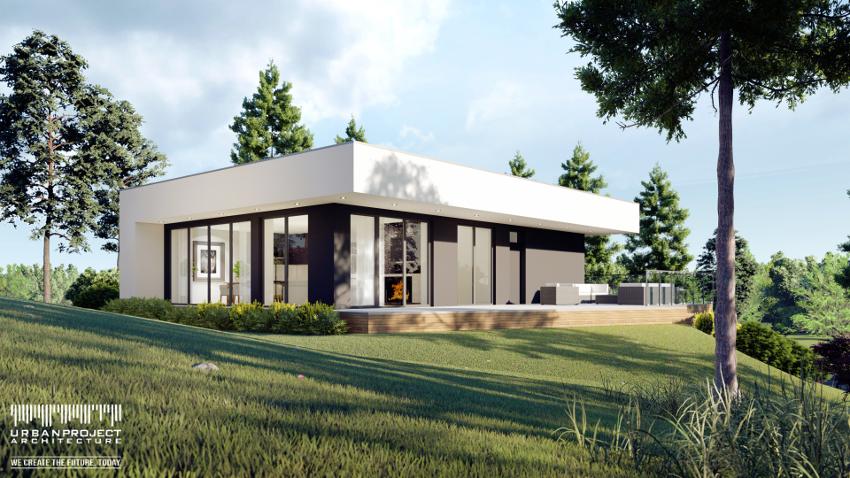 Zobacz niezykły nowoczesny niewielki dom z płaskim dachem. Wyjątkowy projekt indywidualny - Dom Marzeń A0222. Projekt małego współczesnego domu dla Ciebie!