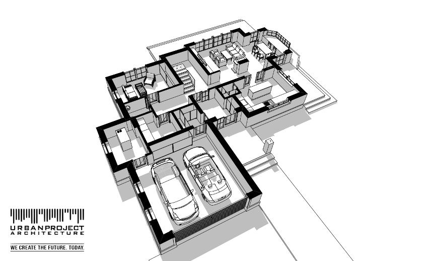 Garaż wyróżnia się w bryle budynku i łączy się z domem poprzez mudroom - specjalny niewielki korytarz połączony również z wiatrołapem.