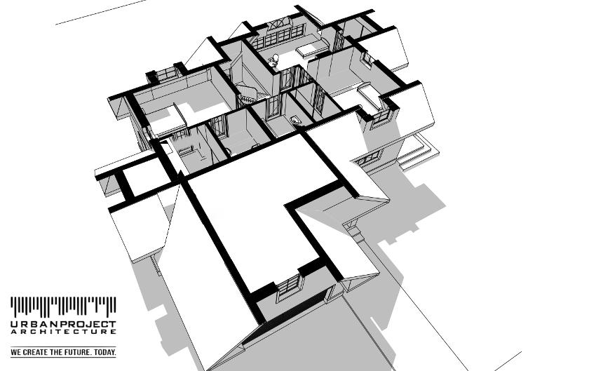 Poddasze zostało wkomponowane w geometrię dachu, dzięki czemu zapewnia dobre wykorzystanie przestrzeni i dużą ilość światła słonecznego. Szczególnie warta uwagi jest jedna z sypialni z przepięknym oknem łukowym.