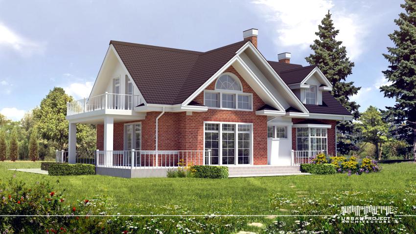 Widok z drugiej strony domu. Tutaj prym wiedzie cegła, która stanowi również doskonałe tło dla delikatnych, białych detali. Projekt domu w amerykańskim stylu.