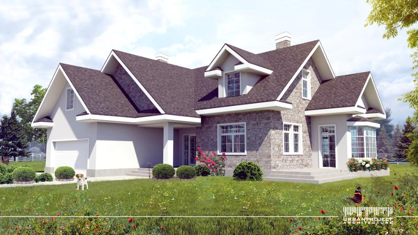 Zacznijmy od pierwszej wersji. Na elewacji wyróżnia się przede wszystkim naturalny kamień. Świetnie uzupełnia pozostałe materiały, a ponadto dodaje całości niepowtarzalnego uroku.  Projekt domu w amerykańskim stylu.