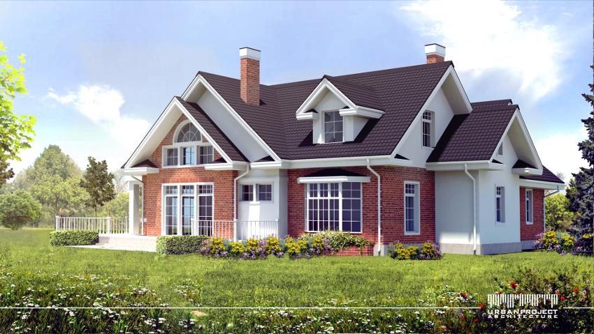 Zwróćcie uwagę na potrójny układ okien na dwóch kondygnacjach, zwieńczone środkowym oknem łukowym. Taki układ jest często spotykany w amerykańskiej stylistyce. Wartym uwagi jest również wykusz zaprojektowany specjalnie w celu stworzenia wewnętrznego siedziska - bay window. Projekt domu w amerykańskim stylu.