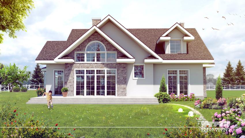 Przemyślany układ okien zarówno w pierwszej jak i w drugiej wersji odgrywa szczególną rolę. Ich rozmiar i kształty dostosowano pod kątem funkcji pełnionych w pomieszczeniach, w rezultacie otrzymując wyjątkowe i dobrze doświetlone wnętrza. Projekt domu w amerykańskim stylu.