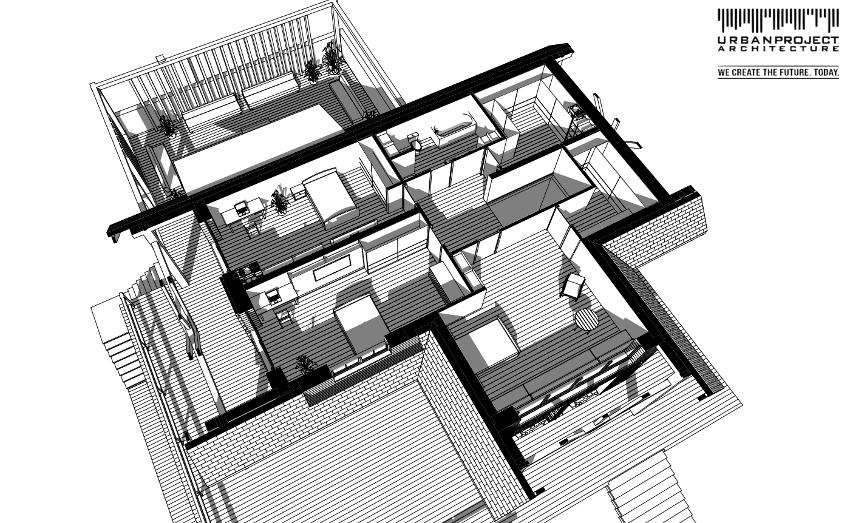 Poddasze to strefa sypialniana domowników, a każde pomieszczenie zostało wkomponowane w geometrię dachów. W rezultacie pokoje są dobrze doświetlone, wygodne w użytkowaniu i przytulne.