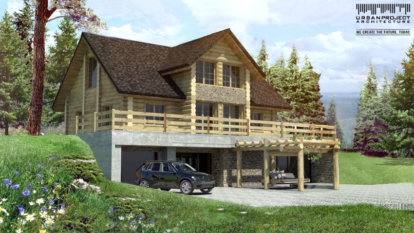Kolejny etap rozwoju koncepcji i kolejny widok od strony ogrodu. Tym razem garaż usytuowano na kondygnacji podziemnej i stworzono pasującą do architektury pergolę.