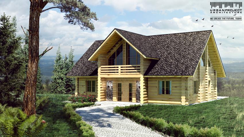 Drewniany dom z bali w wersji pierwszej. Prosta, zachowawcza forma uwydatnia największą ozdobę budynku, czyli drewnianą konstrukcję. projekt domu z bali