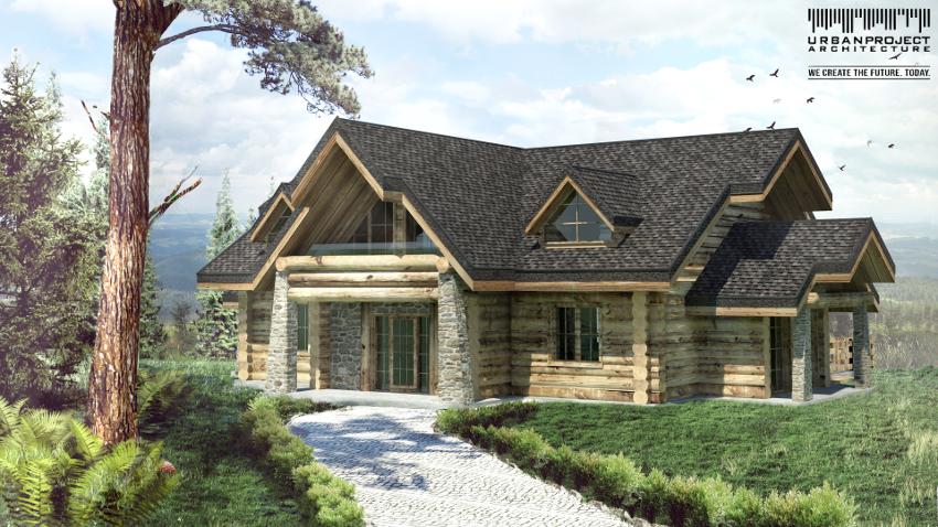 Trzecia wersja obiektu jeszcze bardziej korzysta z tradycyjnych detali, przez co ma najbardziej wysmakowany charakter. Szczególnie kamienne wykończenia podpór dodają wrażenia stabilności i nieprzemijalnego stylu. projekt domu z bali