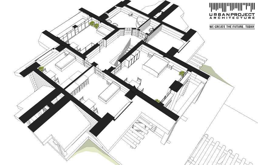 Jak już wspomniałam, pomieszczenia na poddaszu zostały wkomponowane w geometrię dachów. Dzięki temu każdy pokój jest przytulny, wygodny i dobrze doświetlony oraz posiada niepowtarzalny góralski charakter.