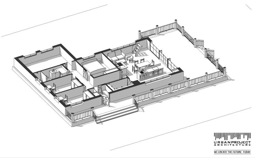 Na tym rysunku dokładnie widać układ pomieszczeń. Warto zwrócić uwagę na studio nagraniowe, które jest dosyć nietypową opcją wyposażenia domu.