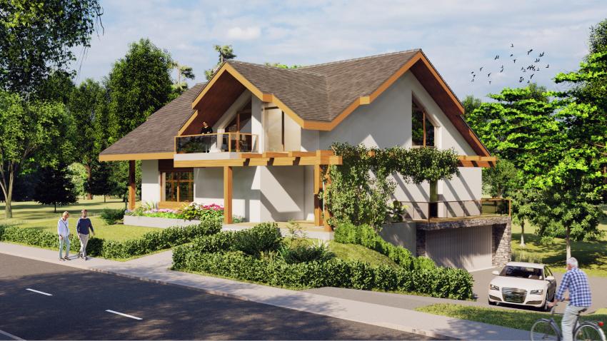 """Nietypowe ukształtowanie działki umożliwiło """"zatopienie"""" jednej kondygnacji w ziemi i to właśnie tam zaprojektowano garaż wraz z pomieszczeniami gospodarczymi! Projekt ciekawego domu jednorodzinnego - Dom Marzeń A0202"""