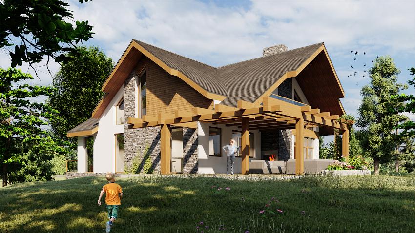 Dom z poddaszem - W tym projekcie również budynek został pokryty połączeniem dwóch przecinających się dachów dwuspadowych. Dzięki takiemu rozwiązaniu pomieszczenia na wyższej kondygnacji zostały doświetlone przez okna  na ścianach szczytowych budynku.