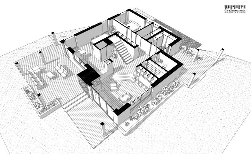 Zastosowanie sufitu katedralnego w salonie bardzo dobrze doświetla strefę dzienną budynku. Projekt ciekawego domu jednorodzinnego - Dom Marzeń A0202