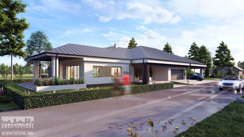 Długie wąskie działki wynikają często z dawnych układów pól uprawnych. Jednak dobrze zaprojektowany parterowy dom może pięknie się na nich prezentować. ;] Dom na wąską działkę